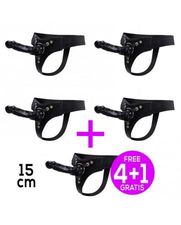 Pack 41 Mistress Arnes Elastico con Dildo Silicona 15 cm Negro