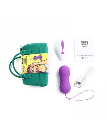 Huevo Vibrador Motion Love Balls con Control Remoto Twisty Purpura
