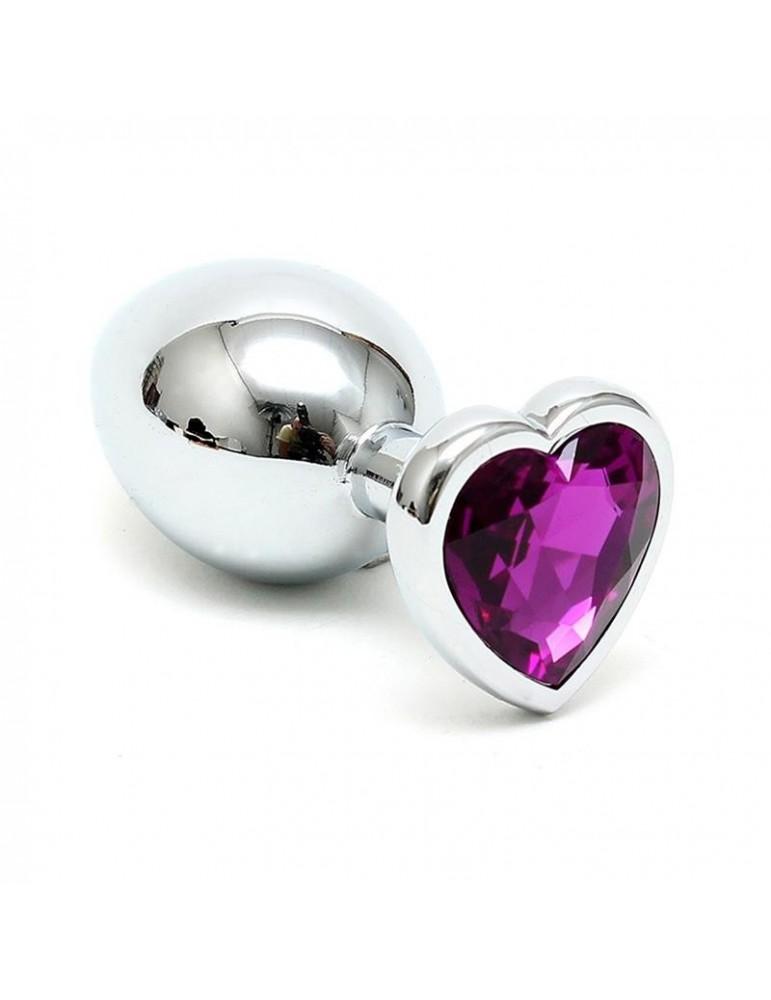 Plug Anal Acero Inox Cristal Corazon Purpura