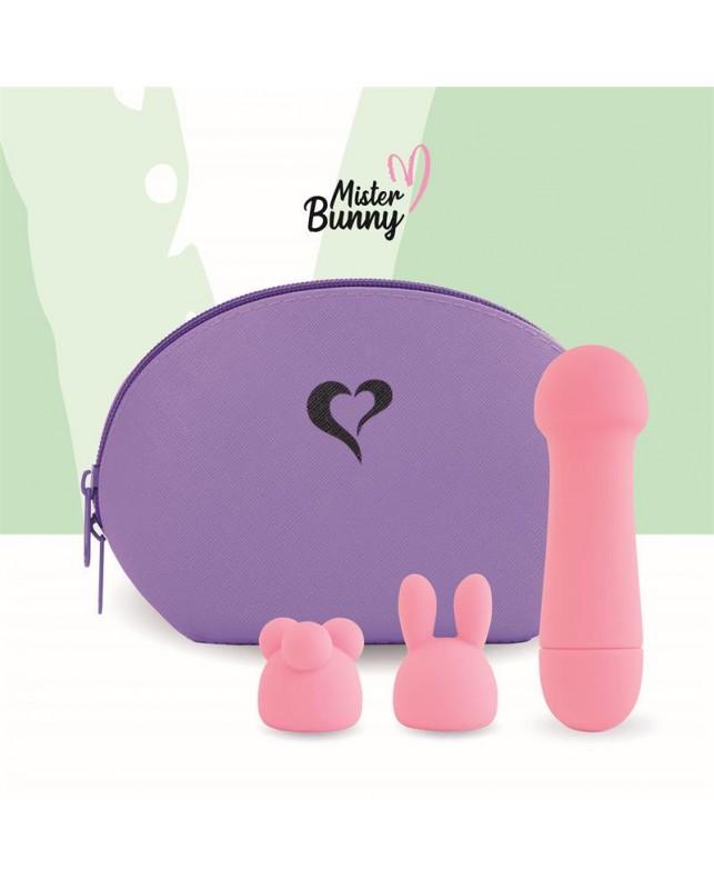 Mister Bunny Vibrador con 2 Accesorios de Silicona Rosa