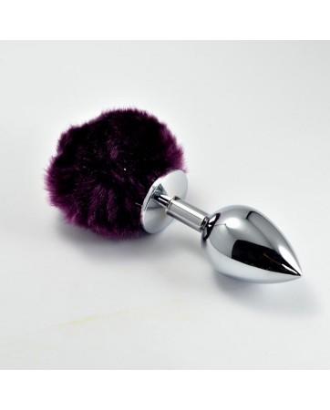 Plug Anal de Metal con Pompon Purpura Talla S