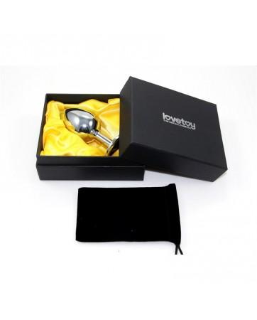 Plug Anal Plateado Rosebud Classic con Joya Transparente Talla S