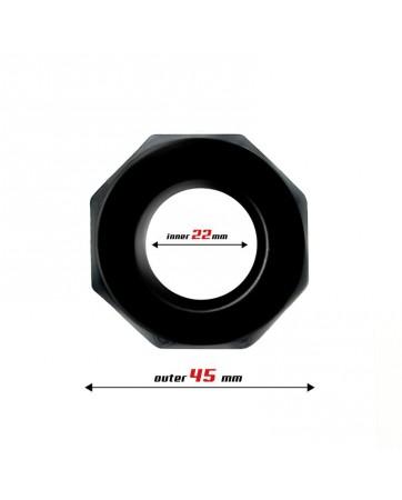 Anillo para el Pene Poligonal Super Flexible 22 cm Negro