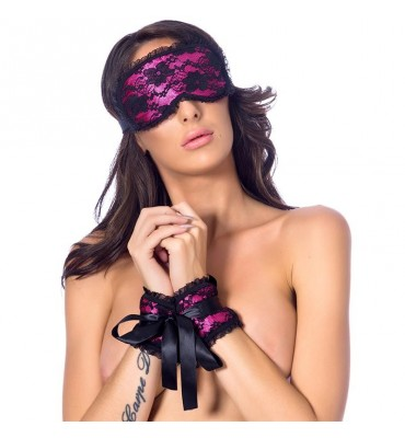 Rimba Bondage Play Esposas y Mascara Estilo Buslesque Color Rosa