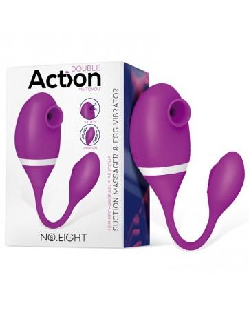 No Eight Succionador de Clitoris y Huevo Virbador 2 en 1 Silicona USB