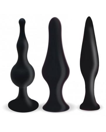 Set 3 Plugs Anal Silicona Negro