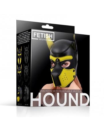 Mascara de Perro de Neopreno con Hocico Extraible Negro y Amarillo Talla L