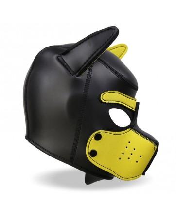 Mascara de Perro de Neopreno con Hocico Extraible Negro y Amarillo Talla M