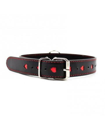 Collar con Cadena Negro Rojo