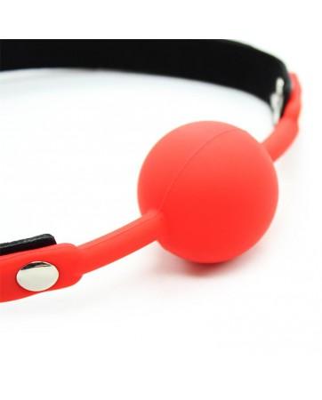 Mordaza de Bola Lisa de Silicona 4 cm Negro Rojo