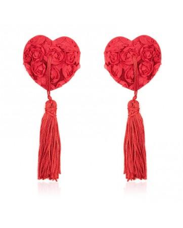 Pezoneras con Encaje y Patron Floral Rojo