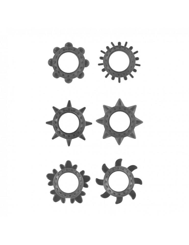 Set de 6 Anillo para el Pene Color Negro